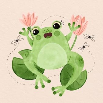 Ilustración de rana sonriente pintada a mano