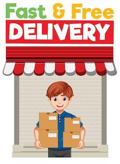 Ilustración rápida y gratuita con repartidor o mensajero en personaje de dibujos animados uniforme azul