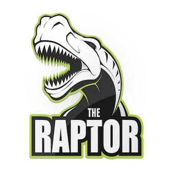 Ilustración de raptor de dinosaurio blanco y negro