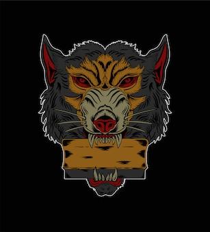 Ilustración de raquetas de serigrafía e ilustración de lobo