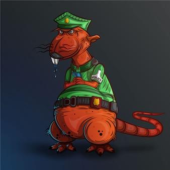 Ilustración de rata de policía