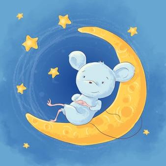 Ilustración de un ratón de dibujos animados lindo en el cielo nocturno de la luna y las estrellas