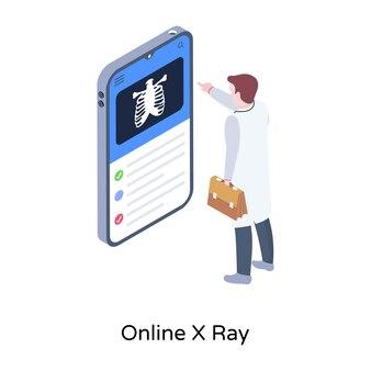 Una ilustración de rayos x del cuerpo en diseño isométrico