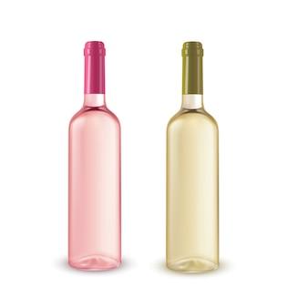 Ilustración realista de 2 botellas de vino sin etiqueta.