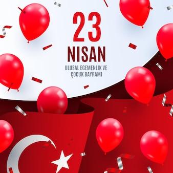 Ilustración realista de 23 nisan con globos