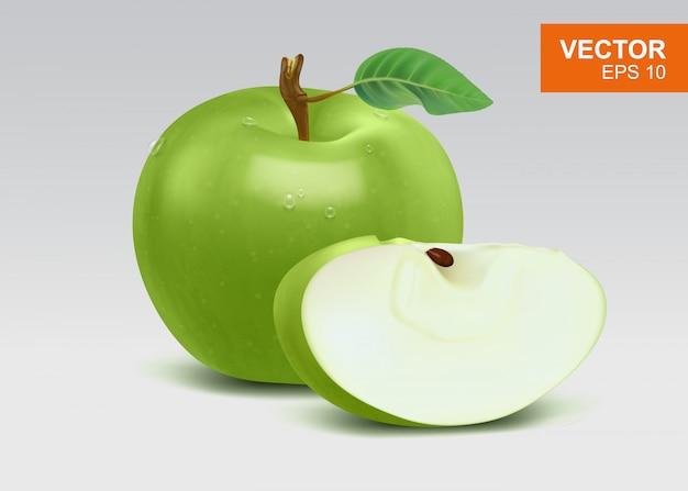 Ilustración realista alta de manzanas verdes