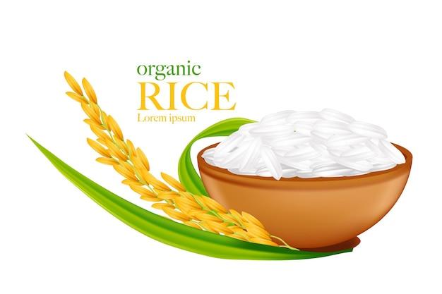 Ilustración realista de arroz