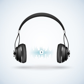 Ilustración realista de auriculares inalámbricos