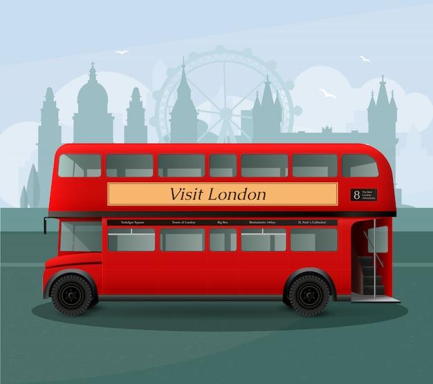 Ilustración realista de autobús de dos pisos de londres