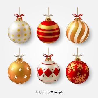 Ilustración realista de bolas de navidad