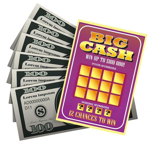 Ilustración realista del boleto de lotería y paquete de dinero. gran efectivo, número ganador