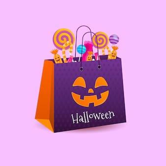 Ilustración realista de bolsa de calabaza de halloween