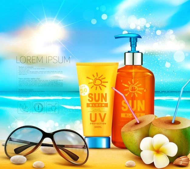 Ilustración realista de botellas 3d de productos cosméticos de protección solar. crema de protección solar de pie en la playa