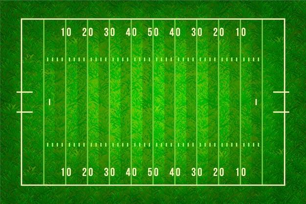 Ilustración realista del campo de fútbol americano en la vista superior