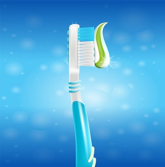 Ilustración realista de cepillo de dientes con pasta en 3d