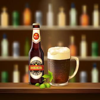 Ilustración realista de cerveza