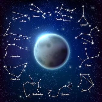 Ilustración realista de constelaciones de luna y zodiaco