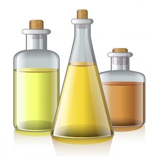 Ilustración realista de aceite aromático. aromaterapia, salón de spa, botella. concepto de cuidado del cuerpo