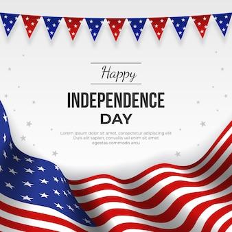 Ilustración realista del día de la independencia del 4 de julio