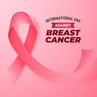 Ilustración realista del día internacional contra el cáncer de mama.