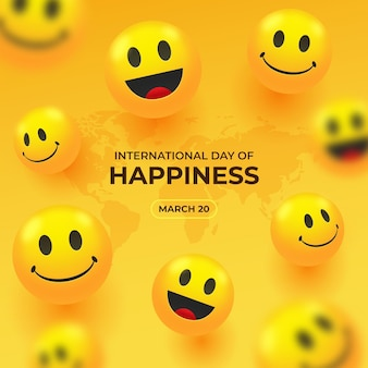 Ilustración realista del día internacional de la felicidad.