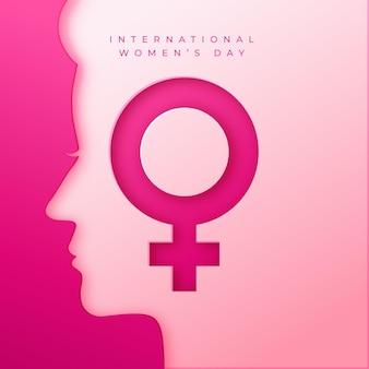 Ilustración realista del día internacional de la mujer en estilo papel