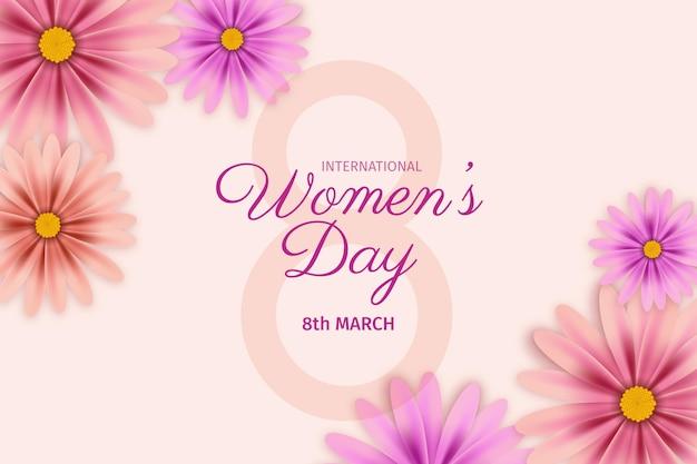 Ilustración realista del día internacional de la mujer con flores.