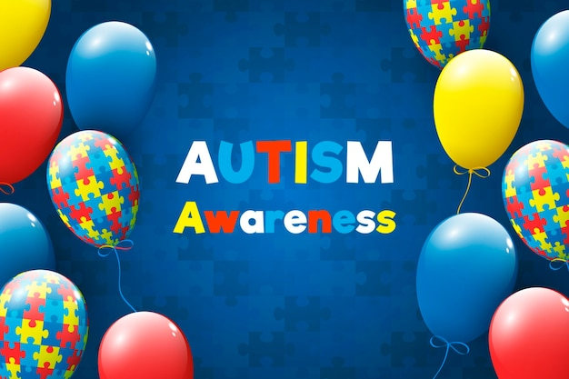 Ilustración realista del día mundial de la concienciación sobre el autismo