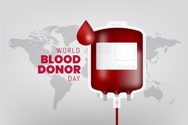 Ilustración realista del día mundial del donante de sangre