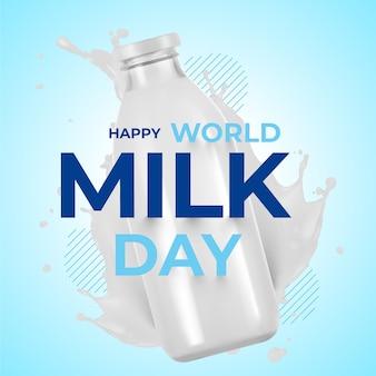 Ilustración realista del día mundial de la leche