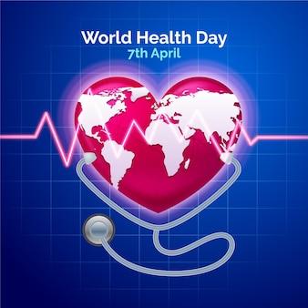 Ilustración realista del día mundial de la salud con planeta en forma de corazón y estetoscopio
