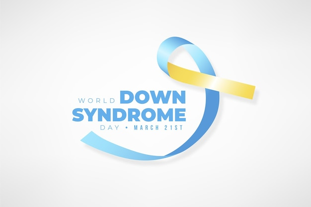 Ilustración realista del día mundial del síndrome de down con cinta