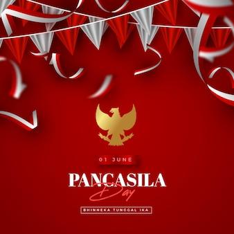 Ilustración realista del día de pancasila