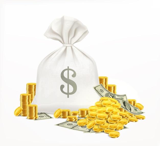 Ilustración realista de dinero de saco