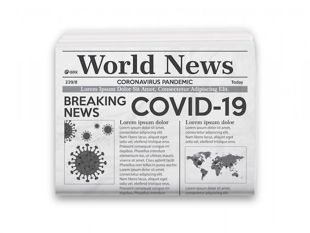 Ilustración realista de diseño de periódico en blanco y negro con noticias covid-19.