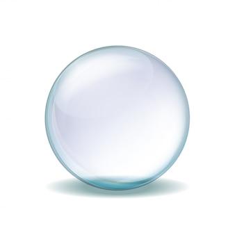 Ilustración realista de esfera de cristal transparente