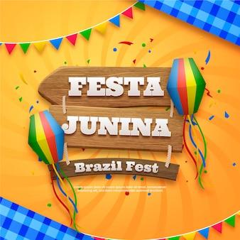 Ilustración realista de festa junina
