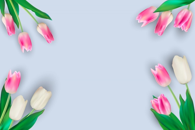 Ilustración realista fondo coloridos tulipanes
