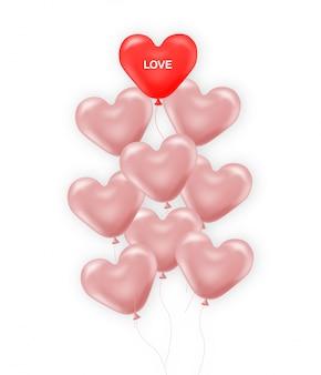 Ilustración realista de globos rosados