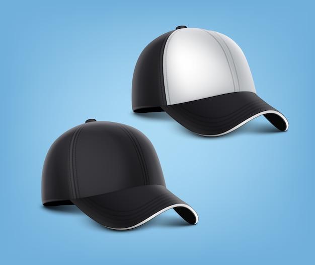 Ilustración realista de gorras negras con detalles blancos aislados