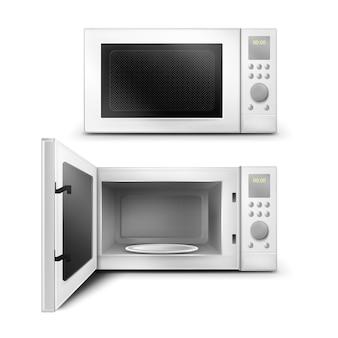 Ilustración realista del horno microondas.