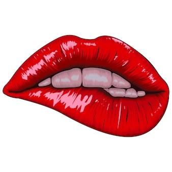 Ilustración realista de labios