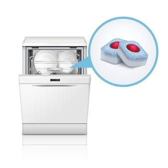Ilustración realista de lavavajillas y tabletas