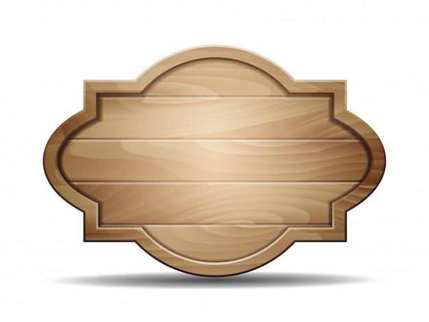 Ilustración realista del letrero de madera en blanco