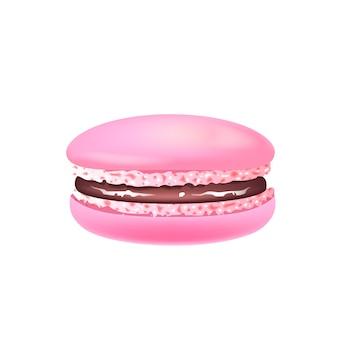 Ilustración realista de macarrón, galleta de almendra rosa