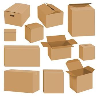 Ilustración realista de maquetas de cajas de cartón para web.