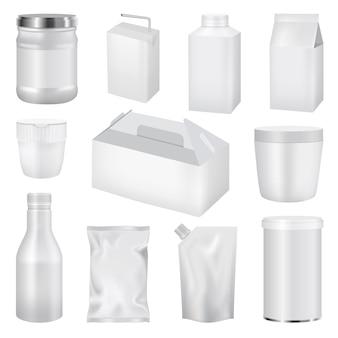 Ilustración realista de maquetas de pack de alimentos para web.