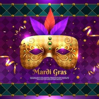 Ilustración realista de mardi gras con máscara