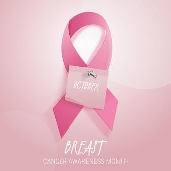 Ilustración realista del mes de concientización sobre el cáncer de mama