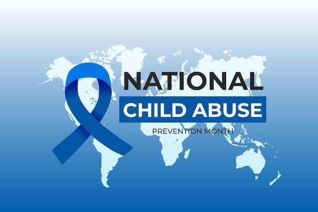 Ilustración realista del mes nacional de prevención del abuso infantil con mapa mundial